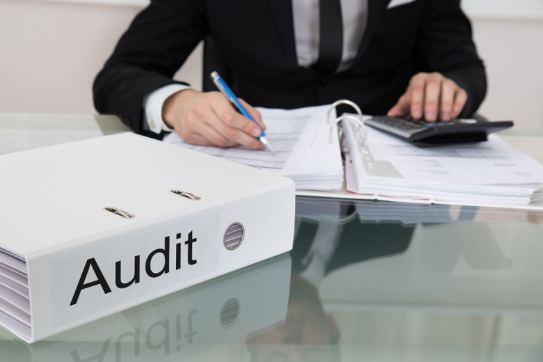 man auditing documents